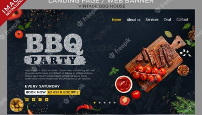 Vintage bbq house landing page or web banner series Premium Psd